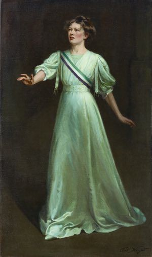"""Fashion, feminism and politics has always been heated territory, and the suffragettes knew this..they chose resistance through reversal. They sought to effect change not by challenging contemporary fashion and ideals of femininity, but by conforming to them. Haunted by the stereotypical image of the """"strong-minded woman"""" in masculine clothes, pebble-thick glasses and galoshes created by cartoonists, they chose instead to present a fashionable, feminine image."""