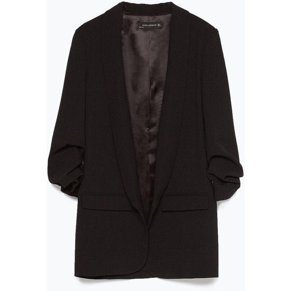Zara Crepe Blazer ($129) ❤ liked on Polyvore featuring outerwear, jackets, blazers, blazer, zara, black, black jacket, crepe blazer, zara jacket and black blazer