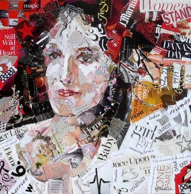 My daughter, Dana, 24x24 torn paper painting. Collage portrait on canvas.