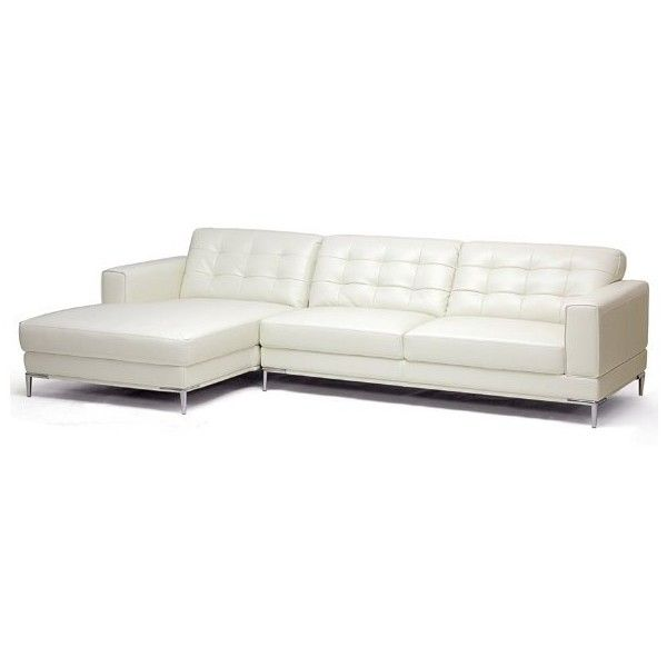baxton studio babbitt ivory leather modern sectional sofa with left - Sectional Leather Sofas