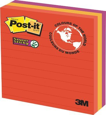"""Shop Staples® for Post-it® Super Sticky Notes, Marrakesh Collection, Lined, 4"""" x 4"""", 90 Sheets/Pad, 3 Pads/Pack"""