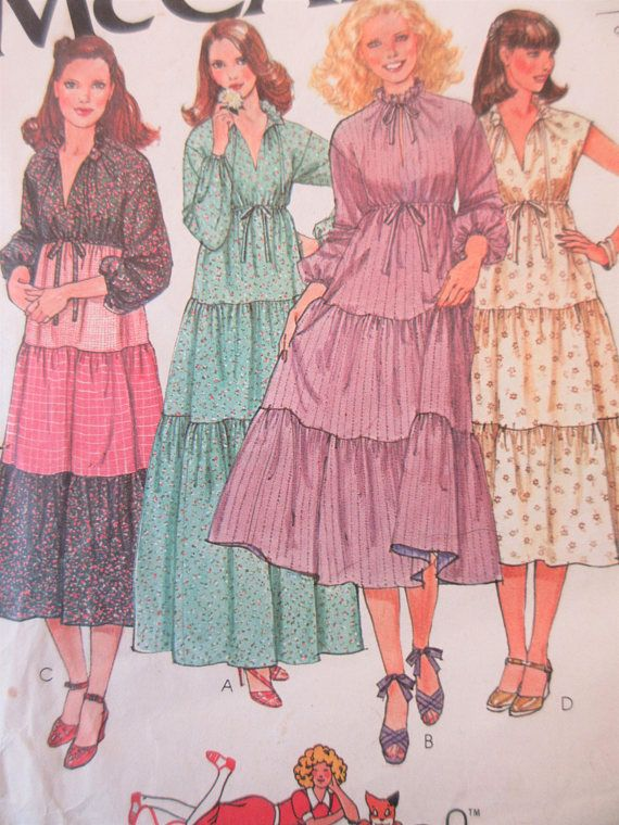 Vintage McCall's 6319 Sewing Pattern 1970s Dress Pattern
