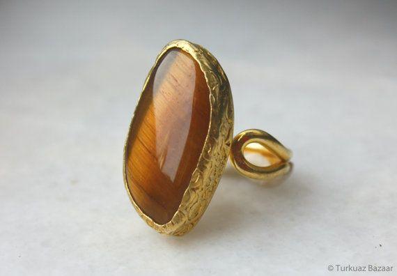 Refika Tigers Eye Ring set in 22k Gold Plated by TurkuazBazaar, $50.00