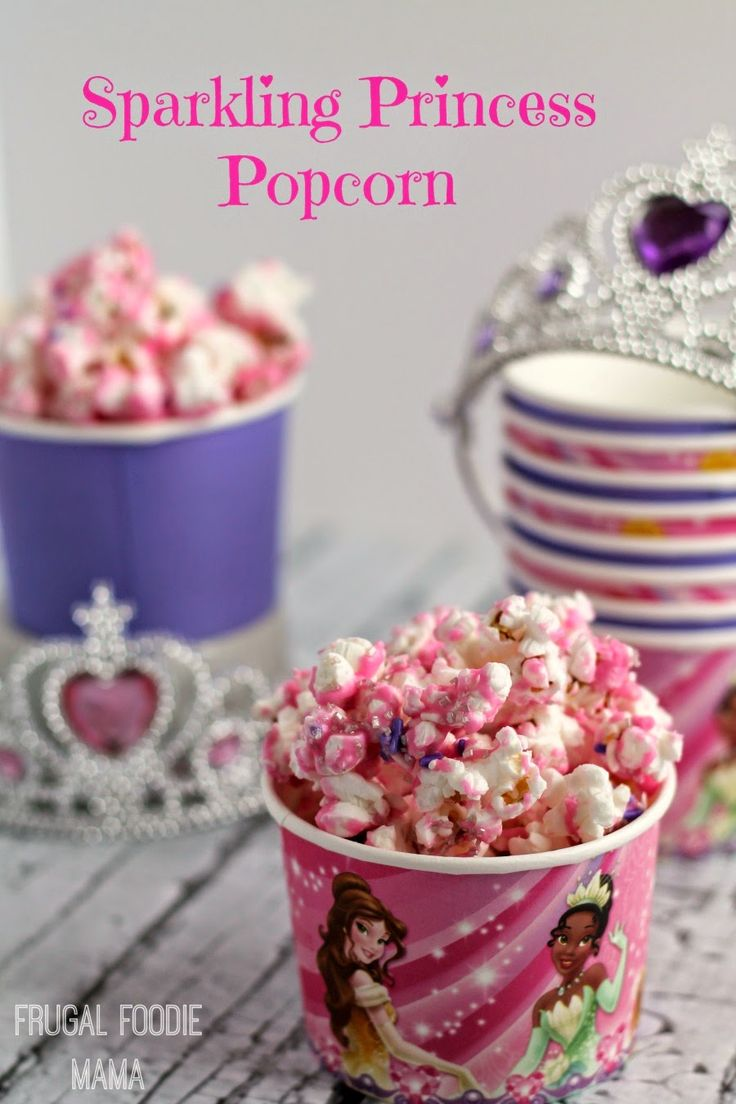This easy & quick Sparkling Princess Popcorn is the perfect sweet & salty treat for your princess themed party.