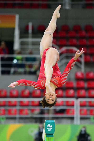 #RIO2016 US gymnast Lauren Hernandez practices on the beam of the women's Artistic gymnastics at the Olympic Arena on August 4 2016 ahead of the Rio 2016...