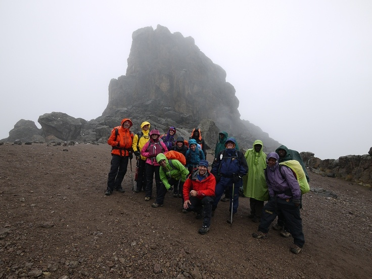 At Lava Tower on Machame Route Kilimanjaro, in the rain  Photo Guy Cotter