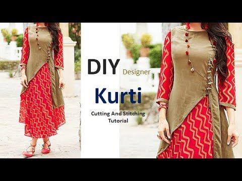 7798687cfe DIY Designer Kurti Cutting And Stitching Full Tutorial - YouTube ...