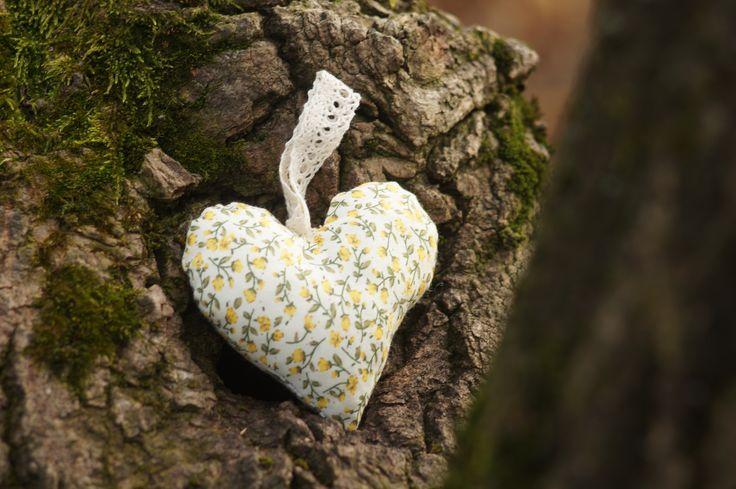 Yellow flower patterned lavender heart.