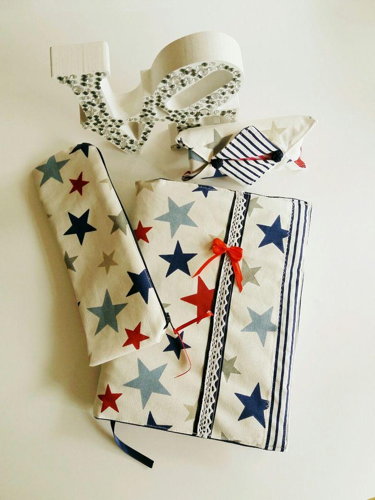 Conjunto capa agenda, estojo e porta lenços uma prenda diferente! !!!