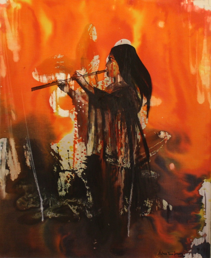 Painting of NAF player - First Flute by Gloria Tara Lowery: American Flutes, Flutes Naf, Painting