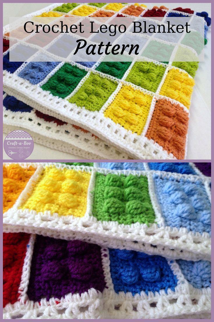 Crochet Blanket Pattern Building Blocks Handmade Present Toy