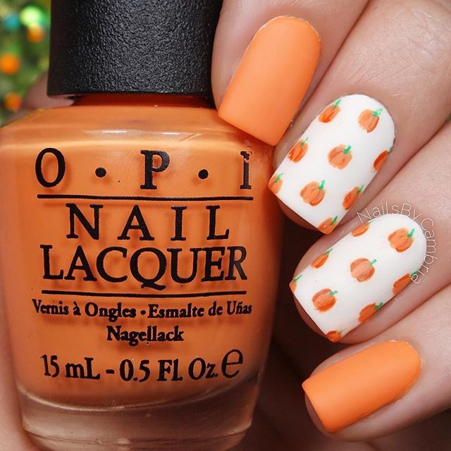 Cute little matte pumpkin print nails! Tutorial will be up today Tag someone who would love these! I used: @opi_products Alpine Snow, Where Did Suzi's Man-go, It's A Piazza Cake, and Matte Top Coat @twinkled_t #00 nail art brush   10% off with my code CAMBRIA Green acrylic paint @sechenails Seche Vite All polishes are from @hbbeautybar   15% off with code nailsbycambria #nailitdaily