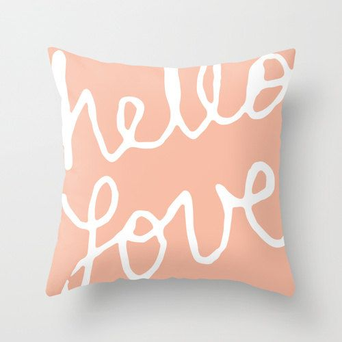 Hello Love Graphic Pillow Cover - Pastel Peach Modern Throw Pillow - Typography Home Decor - Accent Pillow - Nursery Pillow - By Aldari Home