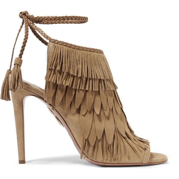 Fringed suede sandals AQUAZZURA (€370) ❤ liked on Polyvore featuring shoes, sandals, suede fringe sandals, suede sandals, suede leather shoes, aquazzura shoes and suede fringe shoes