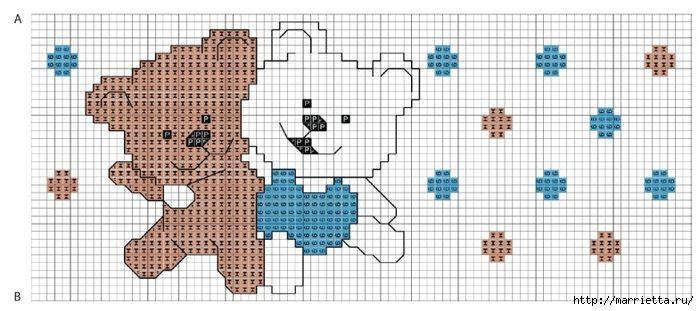 Вышивка медвежат для детского постельного белья. Схема (2) (700x311, 172Kb)