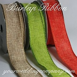 Wired Burlap Ribbon (Jute) in Six Colors - Perfect for rustic, barn, woodland or vintage wedding themes. Use it on centerpieces, wreaths, bouquets, favors, gift baskets, etc. - colors: citrus, moss, red, brown, natural & orange. http://www.yourweddingcompany.com