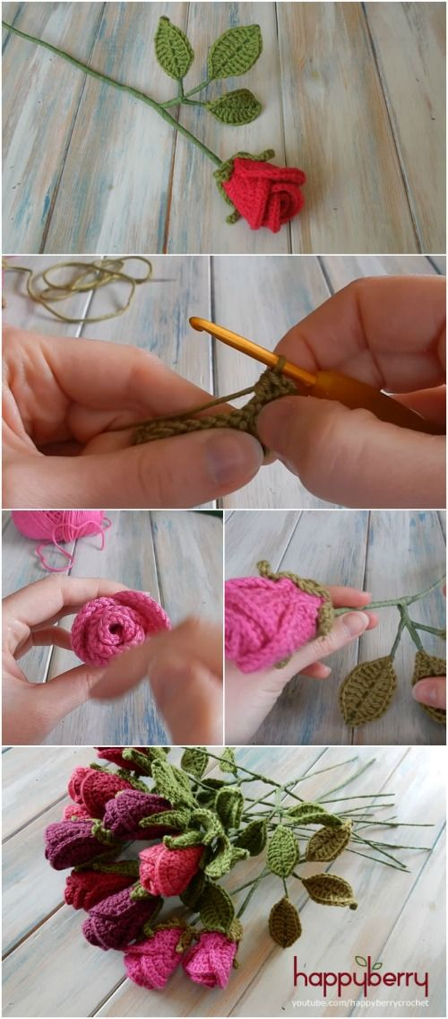 How to Easily Create Gorgeous Crocheted Roses - Video Tutorial + Free Pattern via @vanessacrafting