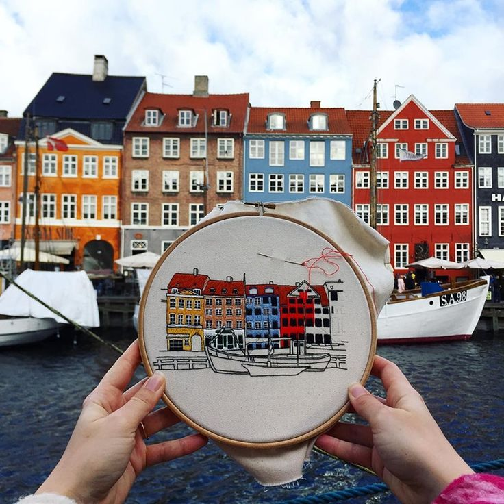 Traveling Couple Embroiders All the Charming Architecture They Come Across
