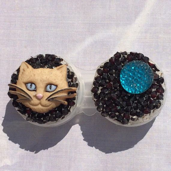 Blue Eye Cat Kitten Cat Lady Contact Lens Case Holder Eye