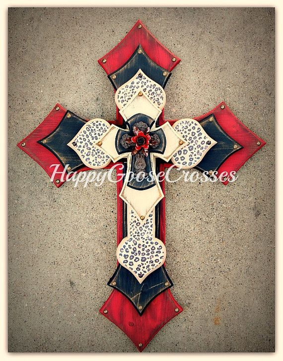 Wall CROSS, Wood Cross - X-Large Antiqued red, black, beige, leopard/cheetah print.  Stunning! www.happygoose.etsy.com