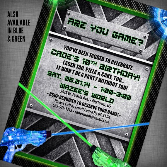 17 Best images about Laser tag birthday – Laser Tag Birthday Invitations Free