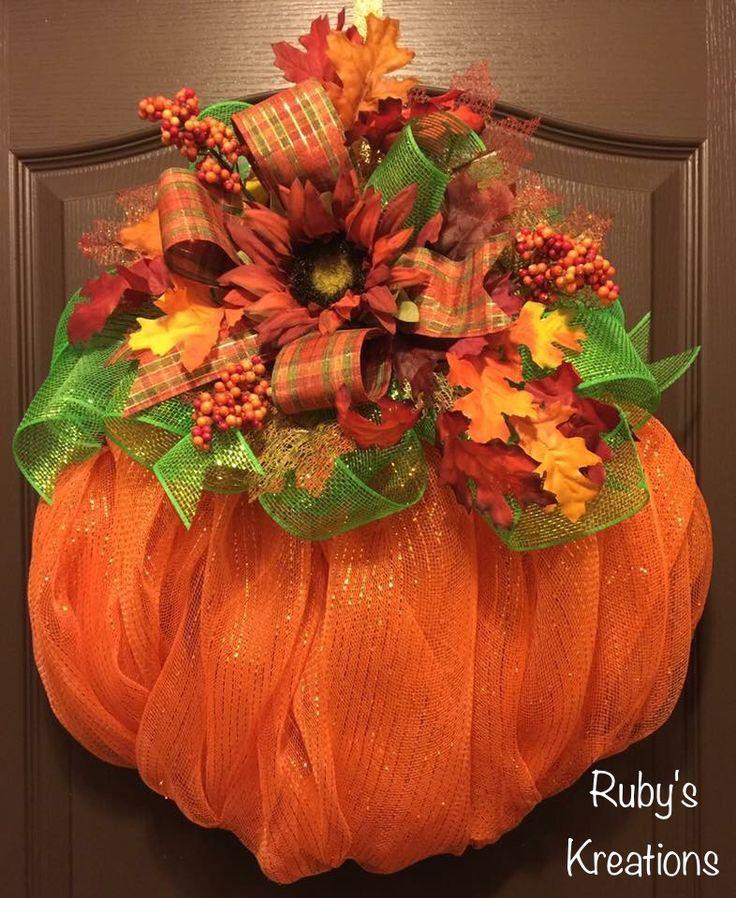 Pumpkin Wreath - Fall Wreath - Thanksgiving Wreath