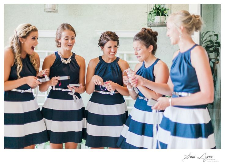 Bridesmaids Gift - navy and white striped bridesmaid dresses