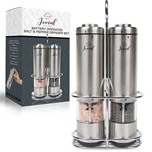86f30ad4407a Battery Operated Salt and Pepper Grinder Set - Electric Stainless Steel  Salt&Pepper Mills(2) by Flafster Kitchen -Tall Power Shakers with Stand -  Ceramic ...
