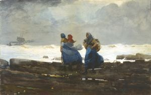 Fishwives, Winslow Homer, 1883, watercolor on paper, 18 in. x 29 1/2 in. Currier Museum of Art.