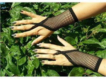 Korta svarta fingerlösa nät handskar goth Lolita rock punk. Fri frakt!