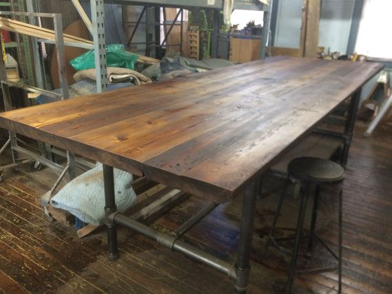 Table - Reclaimed Wood Table - Communal Dining Table - Conference Table - Rustic Modern - 12 foot Pub height table