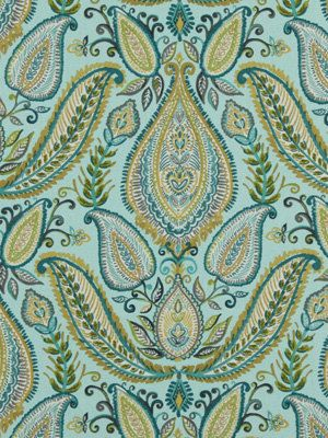 Aqua Blue Paisley Fabric - Woven Cotton Upholstery - Modern Paisley Fabric - Aqua Yellow - Paisley Curtain Fabric - Heavyweight Material