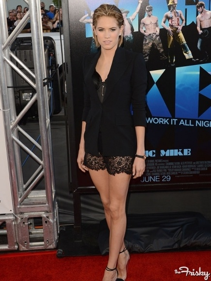 "Loving Cody Horn's black lace shorts at the ""Magic Mike"" premiere"