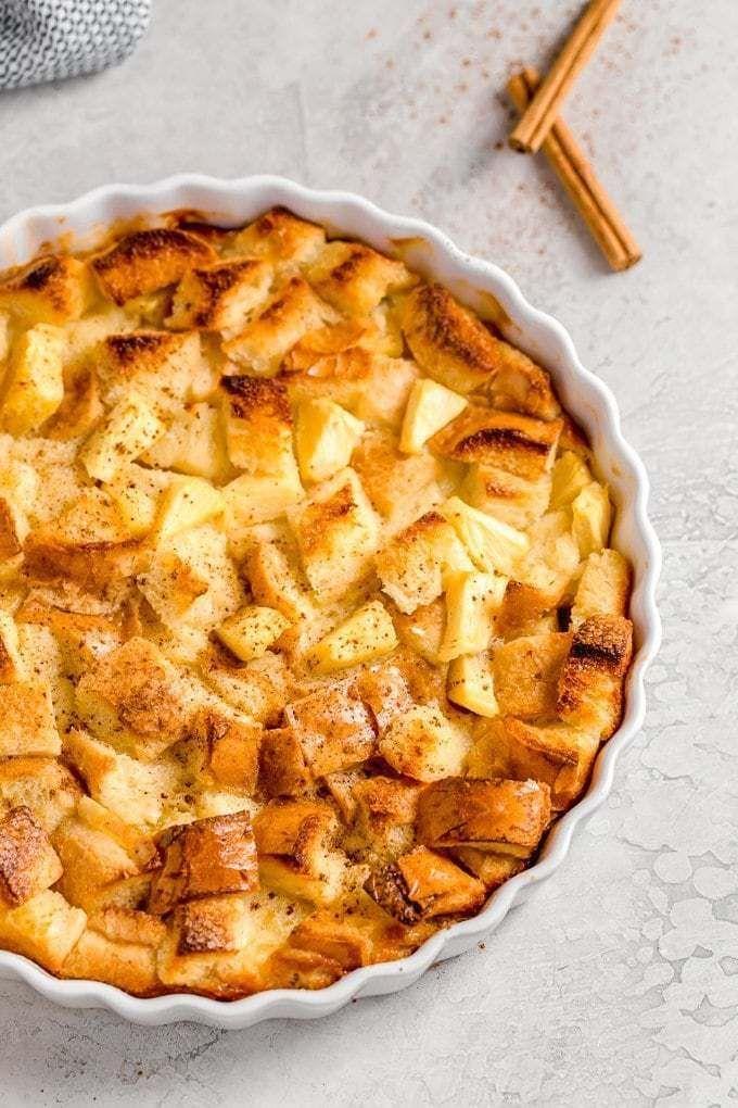 Mar 26, 2020 – Pineapple Bread Pudding in a white round casserole dish