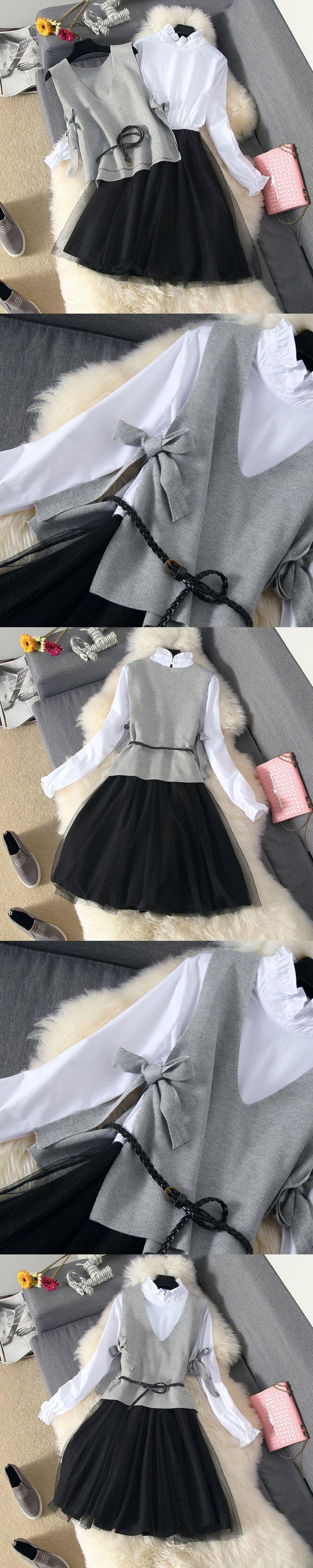 2017 Women Autumn Winter Two Piece Suit Lady Fashion Shirt Patchwork Gauze Dress + Gray Knitted Vest Tops Set Students Wear