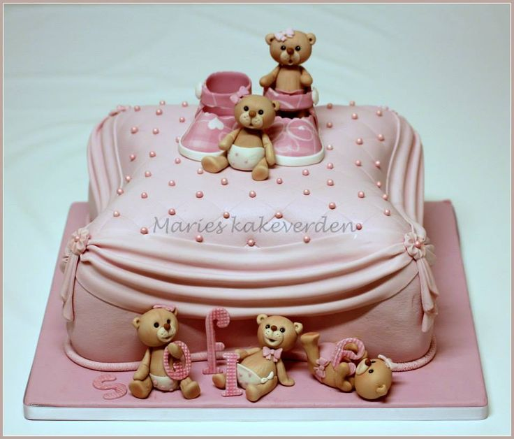 babyshower cake, christening cake, babtism cake, beautiful cake, girl cake, teddybearcake, pillowcake