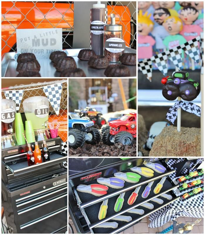 Monster Jam Monster Truck Party with So Many AWESOME Ideas via Kara's Party Ideas | KarasPartyIdeas.com I like the tool cookies... could make a tablescape based on the pit stop.