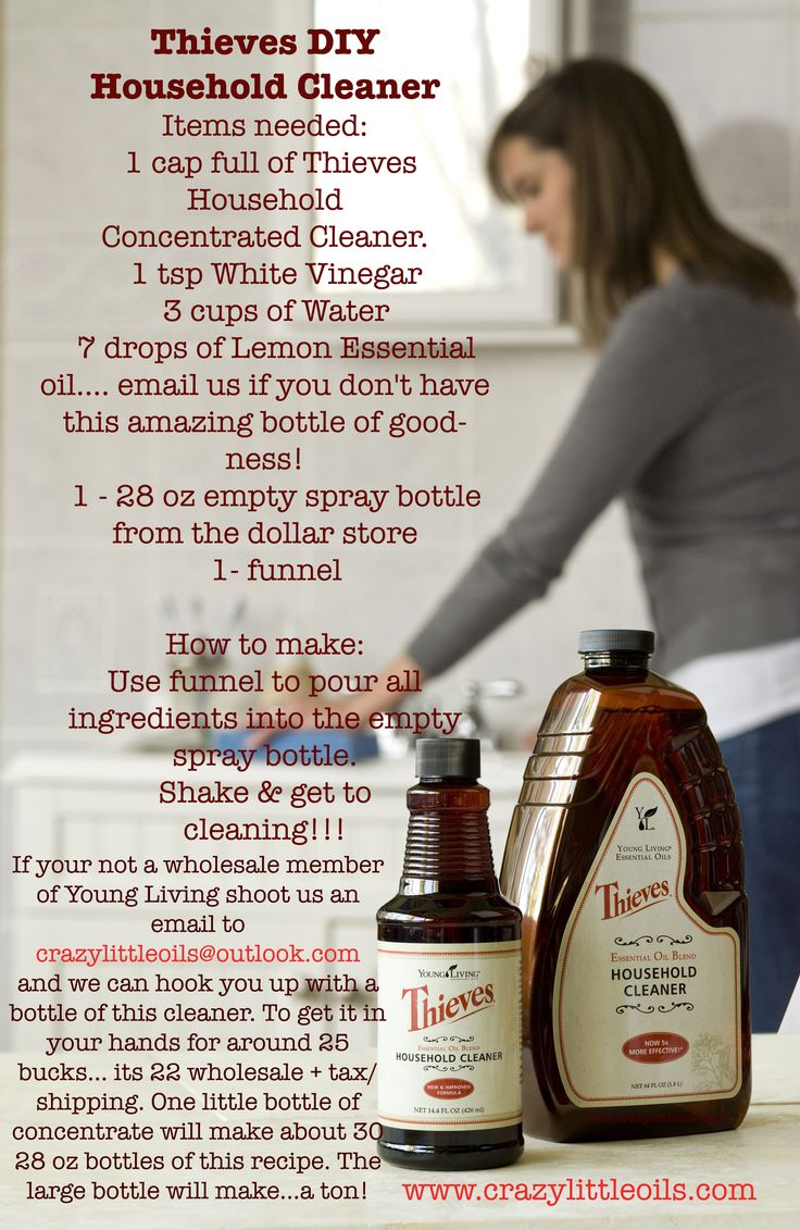 Cleaning with Thieves Household cleaner. DIY recipe.
