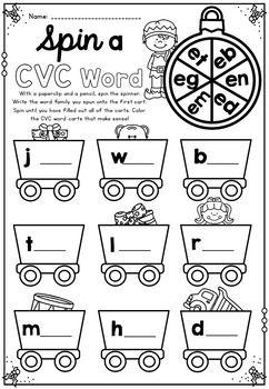 CVC spin a word Christmas theme Kindergarten Christmas Math & Literacy Packet... by Markers and Mochas | Teachers Pay Teachers