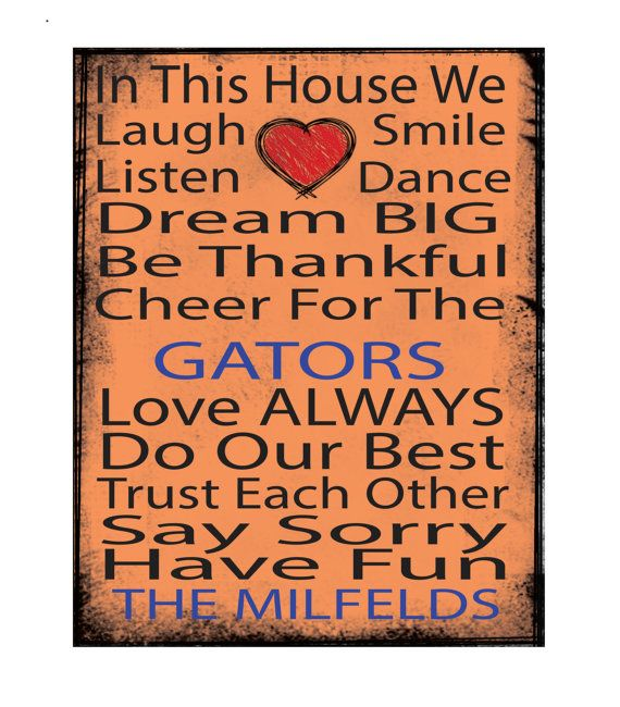 printed canvas, 11x14 canvas, mounted canvas, ready to hang canvas,Univeristy of Florida, Florida, UF, Gators, UF art, In this house