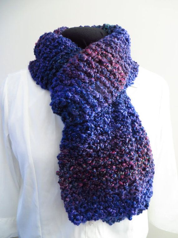 Soft purple scarf with variegated colours.  From MouseGarden on Etsy.