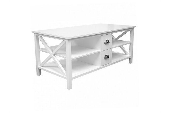 MICHELLE Soffbord med lådor 120 Vit - Betongbord - Bord