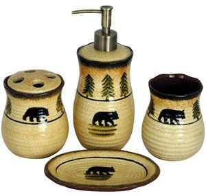 This Ceramic Black Bear bathroom vanity set features a lotion pump, toothbrush holder, soap dish and tumbler. Each piece is designed with a hand painted bear scene in green and gold to create a rustic, lodge look that will look great in your bathroom. Sold as a set.