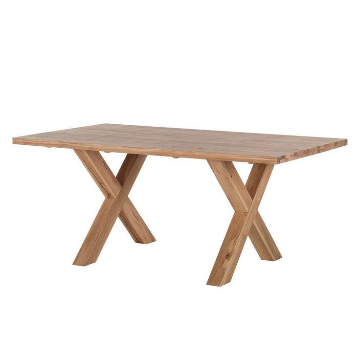 Esstisch Eiche massiv, Tisch Metall schwarz Tischplatte