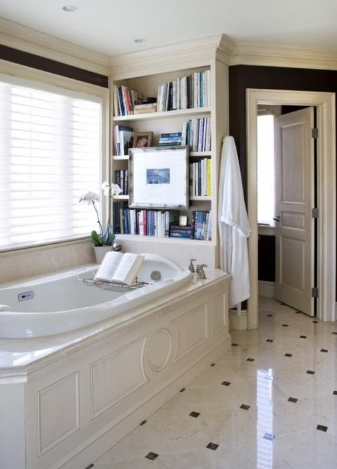 Bathroom Tv and Bookcase..