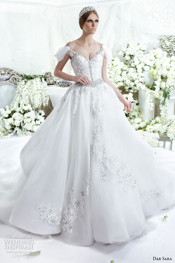 dar sara bridal 2016 wedding dresses beautiful off the shoulder sweetheart neckline beaded embellishment embroidery ball gown