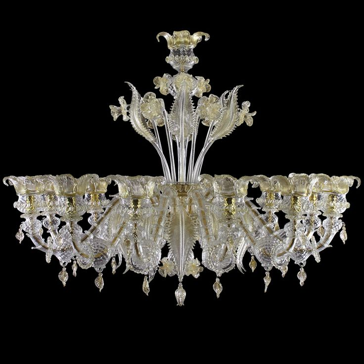 #SemiRezzonico 12 lights #chandelier. Crystal colour with gold details.