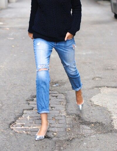 Distressed jeans. Silver shoes. Black knit. (just not holes in the jeans  not such high heels.)