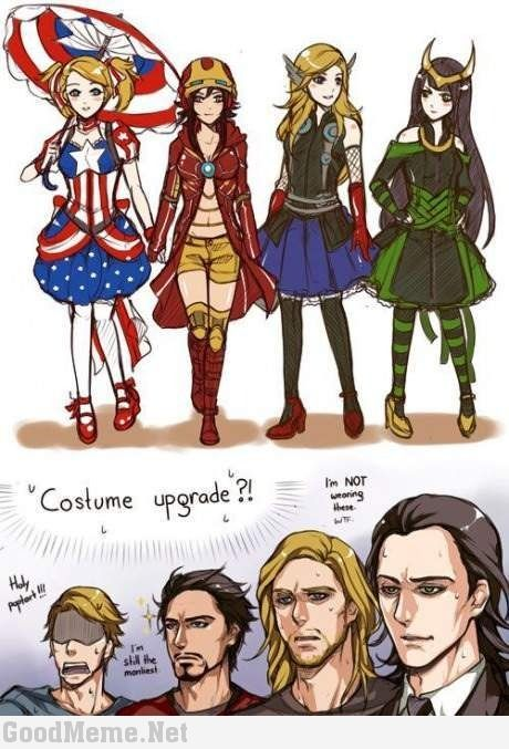 The Avengers genderbend // Ahaha, I LOVE Steve's expression.