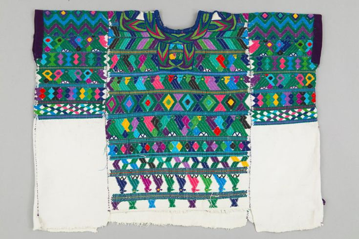 The woman's huipil has a long and ancient tradition in Guatemala and is still worn in parts of the country today. Indigenous garments such as the huipil have roots in pre-Spanish Maya costume, and are often depicted on ceramics and sculpture. A huipil consists of one, two, or three lengths of cotton woven on a back-strap loom and sewn together with an opening for the head. Supplementary weft threads in cotton, silk, rayon and more recently acrylic, are used to float a raised pattern during…